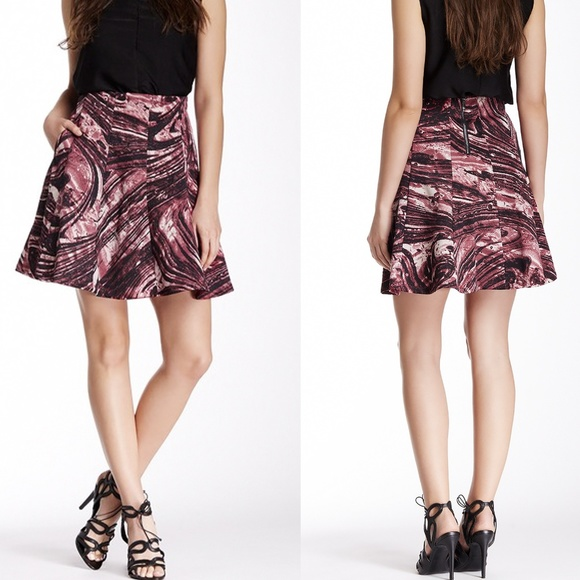 Search for Sanity Dresses & Skirts - Search for Sanity Pink & Black Marble Skater Skirt